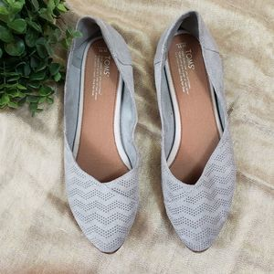 TOMS Women's 11 Perforated Gray Suede Ballet Flats